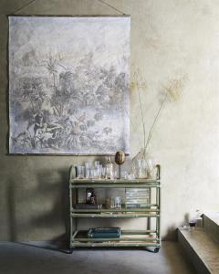 Glazen Karaf Palmen Gegraveerd - HK Living