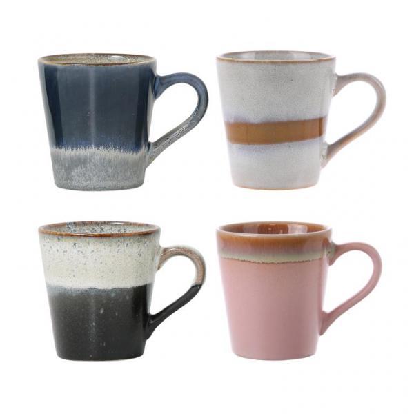 Espressomok 70's Keramiek (set van 4) - HK Living