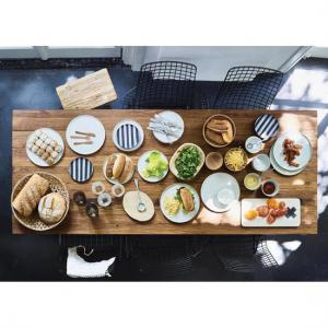 Dessert Bord Zwart-Wit Gestreept - HK Living