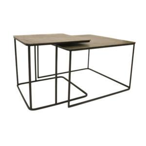 Metal Brass Coffee Table Set Of 2 - HK Living
