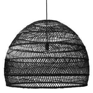 Wicker Hanging Lamp Ball Black L - HK Living