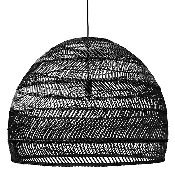 Wicker Hanging Lamp Ball Black L - HK Living