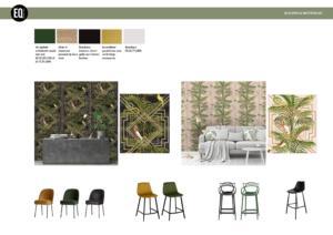 De verschillende behangsoorten met bijpassende stoelen