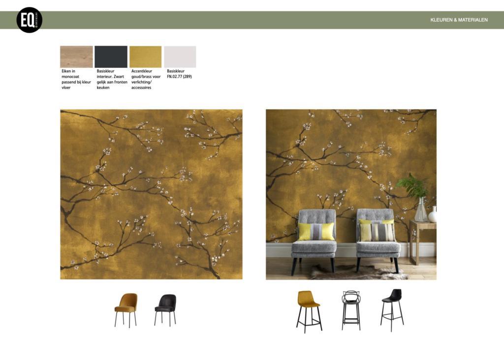 Alternatief behang met bijpassende stoelen