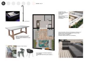 Interieuradvies en interieurontwerp dakterras:tuin grachtenpand Zwolle