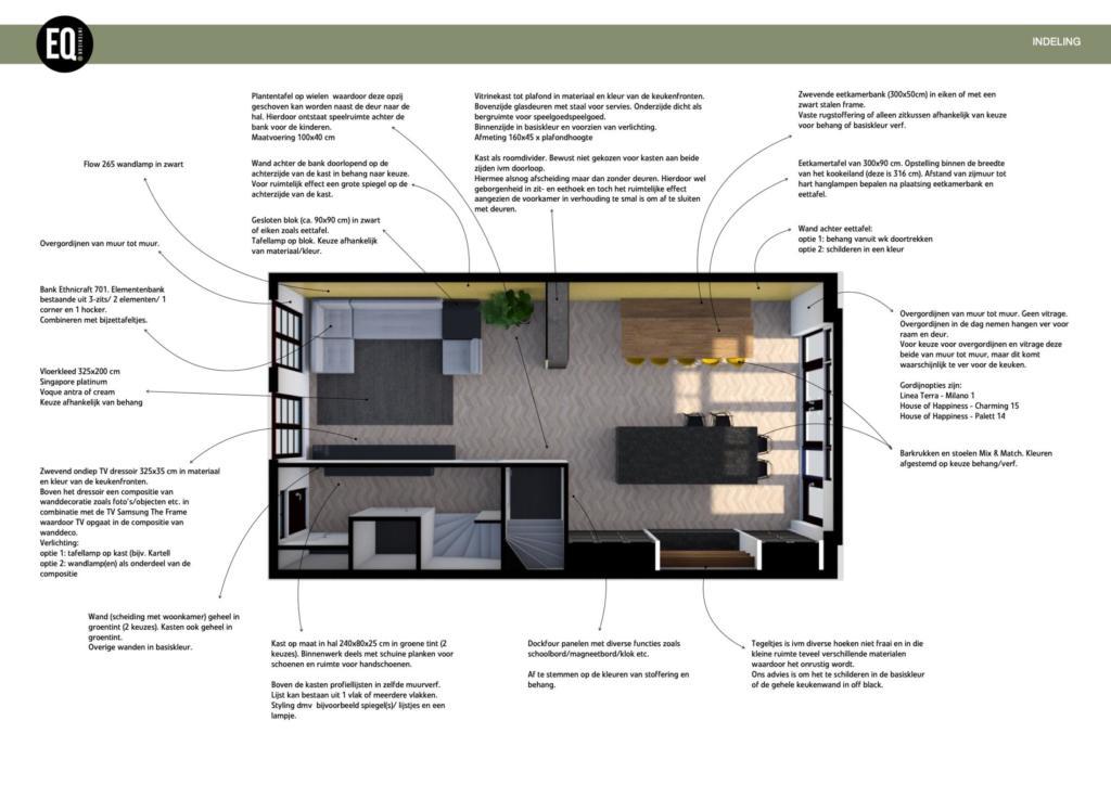 Interieuradvies en interieurontwerp woonkamer, eetkamer en hal