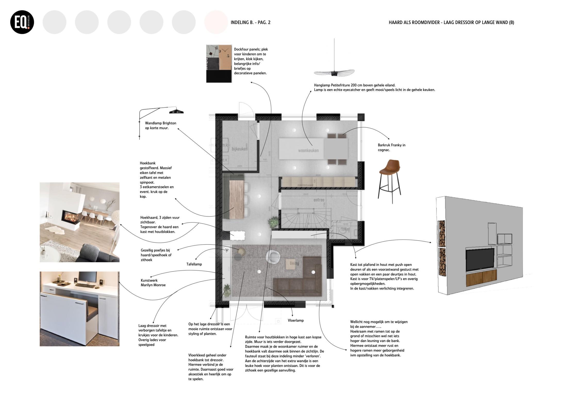 Interieurontwerp en indeling woonkamer en eetkamer