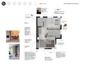Interieurontwerp en indeling woonkamer, keuken en eetkamer.