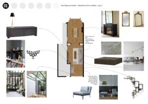 Interieurontwerp smalle woonkamer grachtenpand