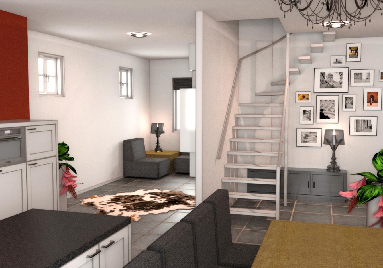 3D aanzicht doorkijk keuken naar hal en woonkamer